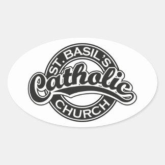 St. Basil's Catholic Church black and white Oval Sticker