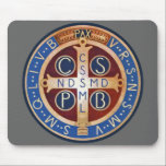 "St. Benedict Exorcism Medal Mouse Pad<br><div class=""desc"">The other side of the medal is where the real exorcistic force reveals itself. In the center is the Cross. Benedict loved the Cross and used it to drive away demons. The vertical beam of the Cross has five letters: C.S.S.M.L., meaning Crux Sacra Sit Mihi Lux (May the holy Cross...</div>"