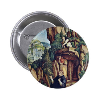 St Benedict In Prayer By Meister Von Meßkirch Be Pinback Buttons