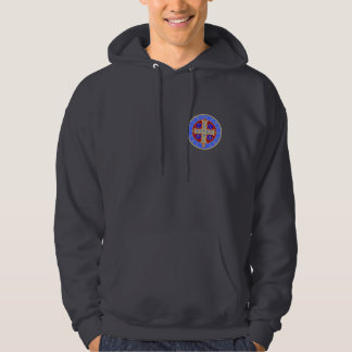 St. Benedict Medal on Any Dark Hooded Sweatshirt