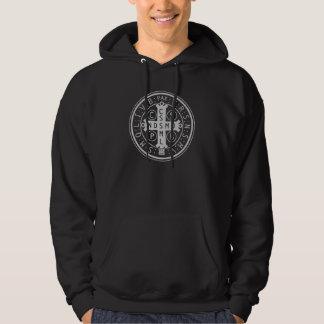 St. Benedict Medal on Dark Hooded Sweatshirts