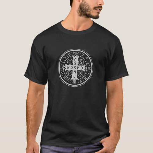 St Benedict Medal on Dark Shirts