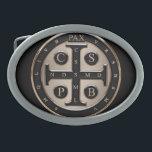 """St. Benedict Medal Oval Belt Buckle<br><div class=""""desc"""">St. Benedict Medal</div>"""