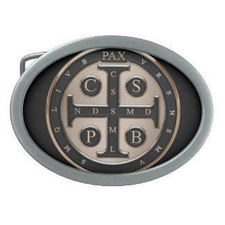 St. Benedict Medal Oval Belt Buckle