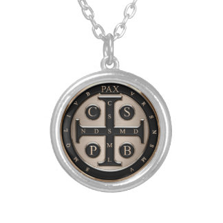 St. Benedict Medal Silver Plated Necklace