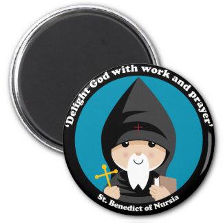 St Benedict of Nursia 2 Inch Round Magnet
