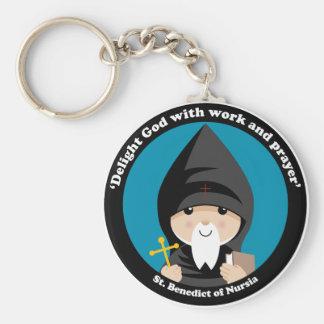 St Benedict of Nursia Basic Round Button Keychain