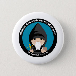 St Benedict of Nursia Pinback Button