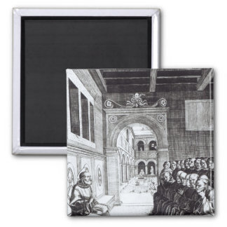 St. Benedict Preaching in the Monastery 2 Inch Square Magnet