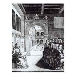 St. Benedict Preaching in the Monastery Postcard