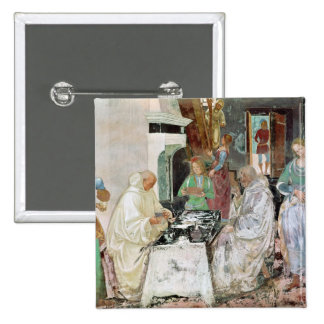 St. Benedict receiving hospitality 2 Inch Square Button