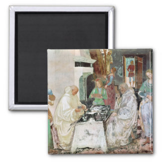 St. Benedict receiving hospitality 2 Inch Square Magnet