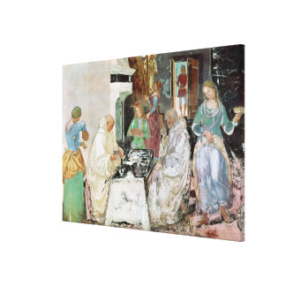 St Benedict receiving hospitality Gallery Wrapped Canvas