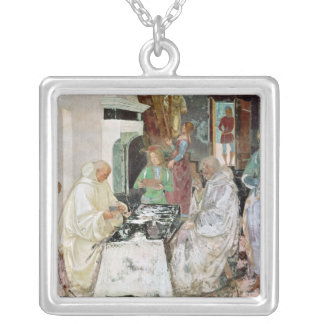 St. Benedict receiving hospitality Square Pendant Necklace