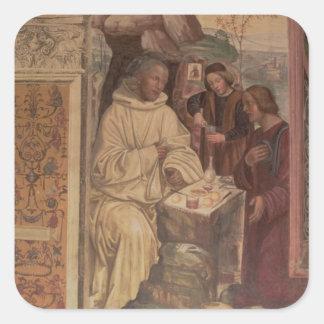 St. Benedicto contra un paisaje, a partir de la Pegatinas Cuadradas