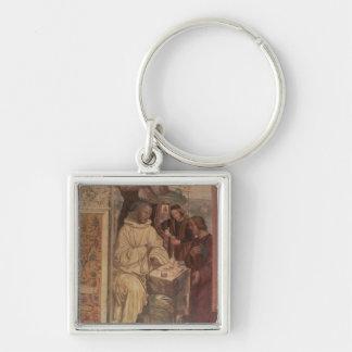 St. Benedicto contra un paisaje, a partir de la vi Llavero Cuadrado Plateado