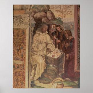 St. Benedicto contra un paisaje, a partir de la vi Póster