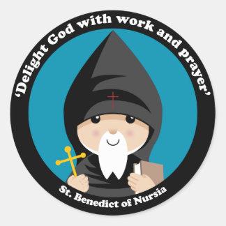 St Benedicto de Nursia Pegatinas Redondas