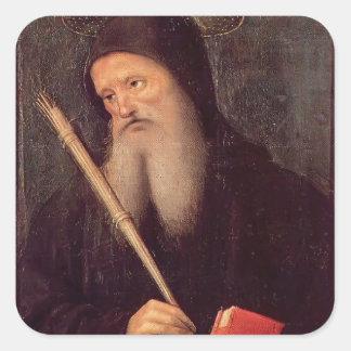 St. Benedicto de Pedro Perugino- Calcomania Cuadradas