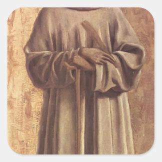 St. Benedicto de Piero della Francesca Pegatinas Cuadradas Personalizadas
