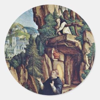 St. Benedicto en rezo de Meister Von Meßkirch (sea Pegatina Redonda