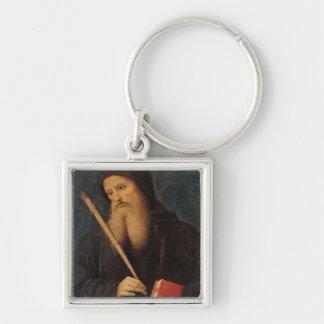 St. Benedicto Llavero Cuadrado Plateado