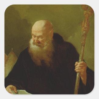 St. Benedicto Calcomanía Cuadradas Personalizadas