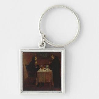 St. Benedicto que bendice St. Maur Llavero Cuadrado Plateado
