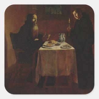 St. Benedicto que bendice St. Maur Calcomanías Cuadradas