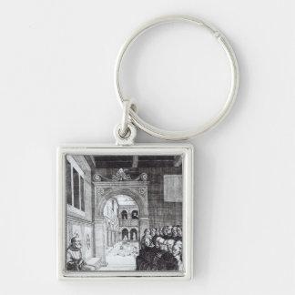 St. Benedicto que predica en el monasterio Llavero Cuadrado Plateado