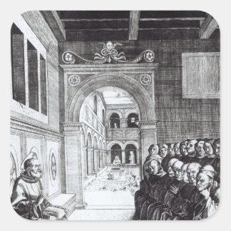 St. Benedicto que predica en el monasterio Calcomanías Cuadradas Personalizadas