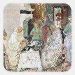 St. Benedicto que recibe hospitalidad Pegatina Cuadrada
