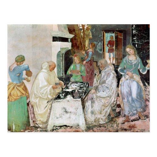 St. Benedicto que recibe hospitalidad Postal