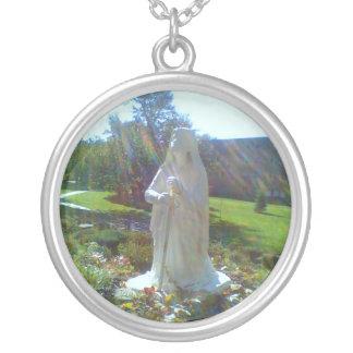 St. Bernadette Grotto Round Pendant Necklace