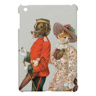 St. Bernard and Yellow Tabby Cat Vintage Art Cover For The iPad Mini
