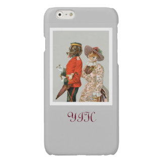 St. Bernard and Yellow Tabby Cat Vintage Art Glossy iPhone 6 Case