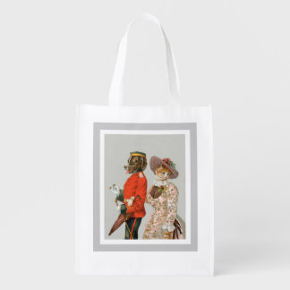 St. Bernard and Yellow Tabby Cat Vintage Art Grocery Bags