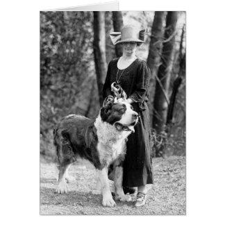 St Bernard & Boston Terrier, 1925 Greeting Card