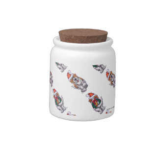 St. Bernard Christmas Candy Jars