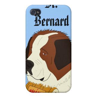 St Bernard con un pequeño barril de vino - línea a iPhone 4 Fundas