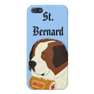 St Bernard con un pequeño barril de vino - línea iPhone 5 Carcasas