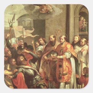 St Bernard de Clairvaux y del duque de Guillermo X Pegatina Cuadrada