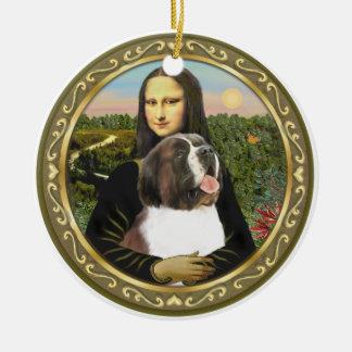 St Bernard de Mona Lisa Adorno Redondo De Cerámica