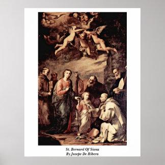 St Bernard de Siena de Jusepe De Ribera Posters