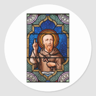 St Bernard del arte del vitral de Clairvaux Pegatina Redonda