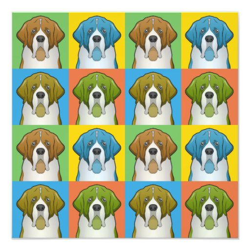 St. Bernard Dog Cartoon Pop-Art Photo