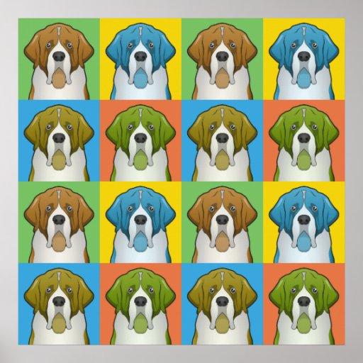 St. Bernard Dog Cartoon Pop-Art Posters