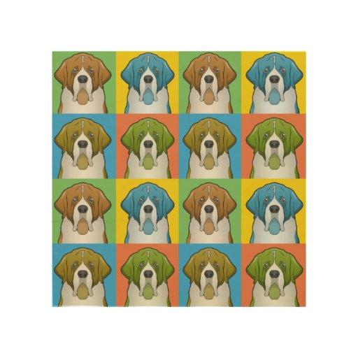 St. Bernard Dog Cartoon Pop-Art Wood Canvas