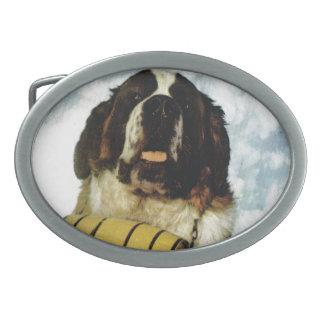 St Bernard dog, Mountain Rescue Oval Belt Buckle
