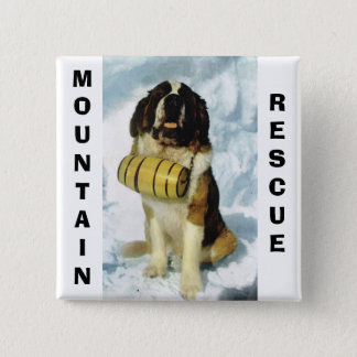 St Bernard dog, Mountain Rescue Pinback Button